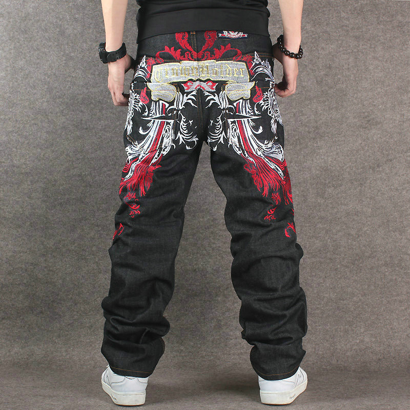 2017 New Arrival Black Hip Hop Denim Men Plus Size Baggy Jeans With Embroidery Quality Fashion Casual Streetwear Big Size 42 44