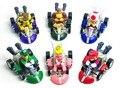 6 unids/lote Super Mario Bros Super Mario Karts coches PVC figuras de acción Juguetes muñecas colección modelo Brinquedos Juguetes