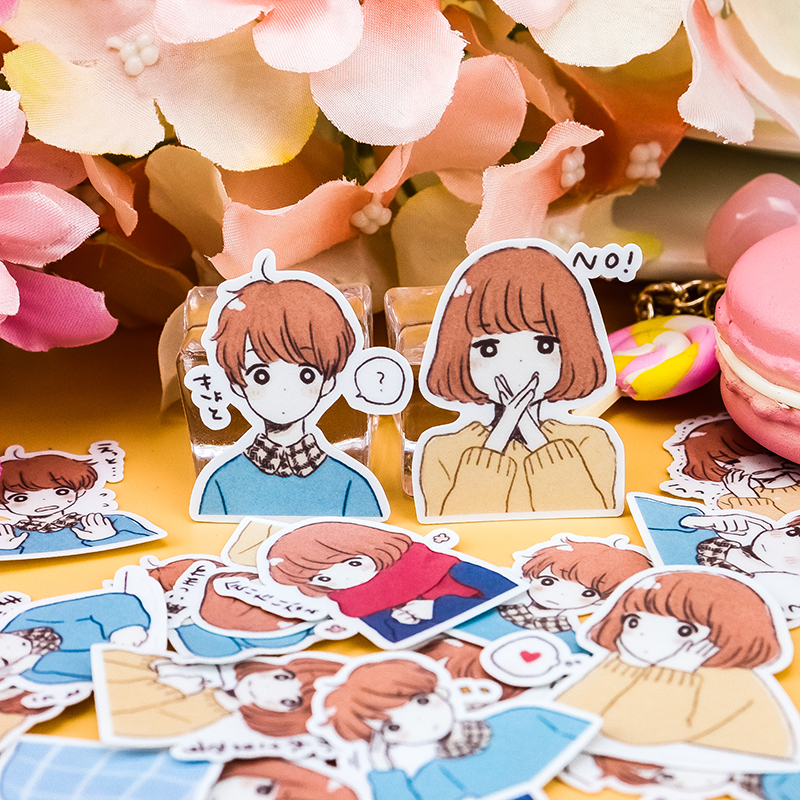 40pcs Creative Cute Self-made Couple 5 Boy Girls DIY  Stickers Diary Album Decoration Scrapbooking Child  Stationery Stickers