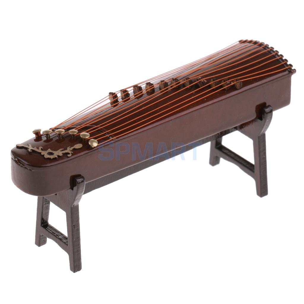 Dollhouse Miniature Plucked Musical Instrument Guzheng Chinese Zither with Box Stand Home Office Desktop Decor Ornaments 10-25cm