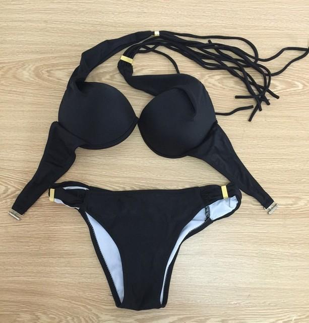 2017 Summer sexy female swimsuit push Brazil Fringed neon halter sexy swimwear bikini suit plus size Bain Biquini free shipping