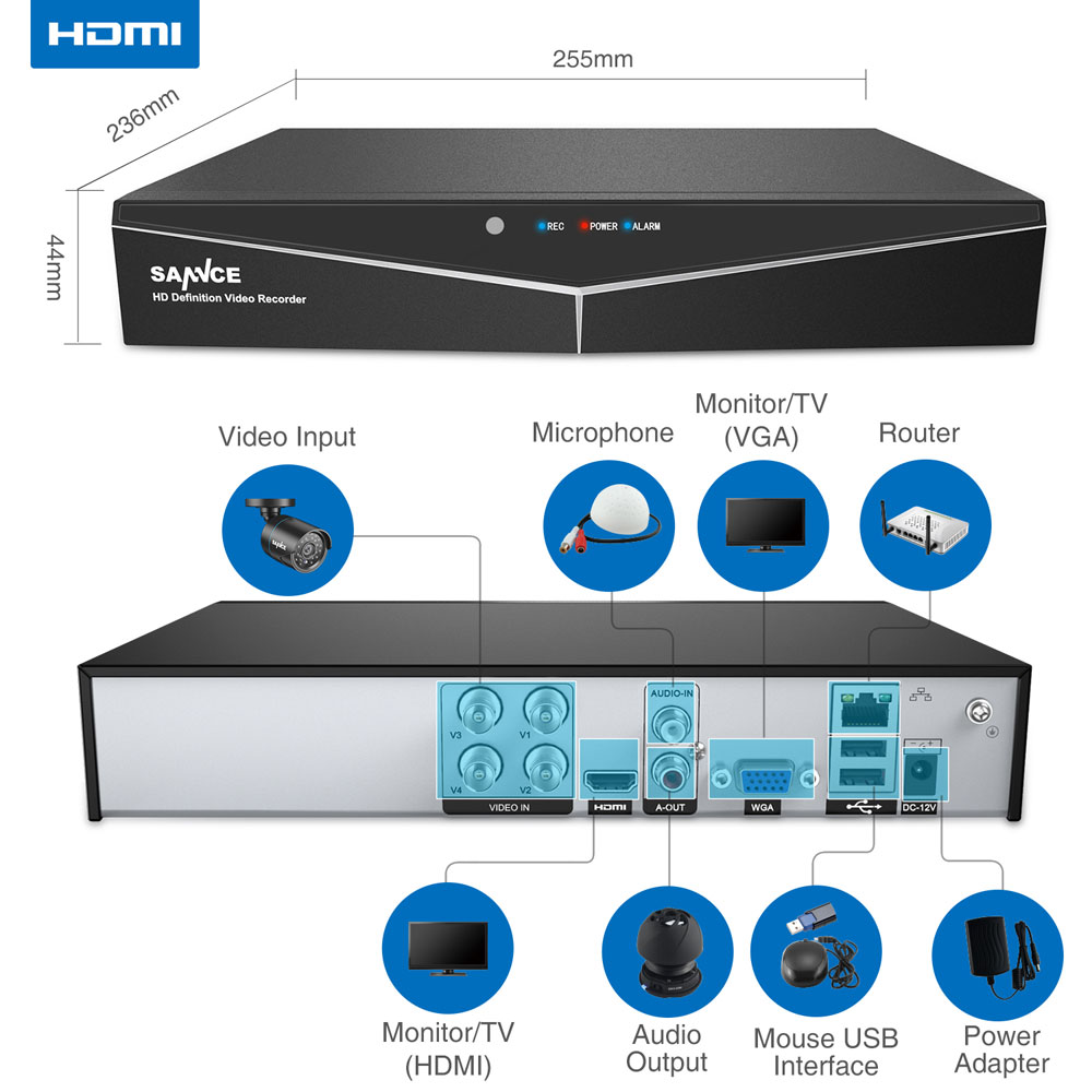 Image 2 - SANNCE 4/8 Channel 720P H.264 Video Recorder HDMI Network D1 Realtime CCTV DVR NVR HVR 8CH for Home Security Camera System-in Surveillance Video Recorder from Security & Protection