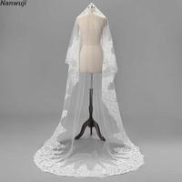 1.5 Meter White Ivory Wedding Veils blusherLong Lace Edge Bridal Veil with Comb Wedding Accessories Bride Mantilla Wedding Veil