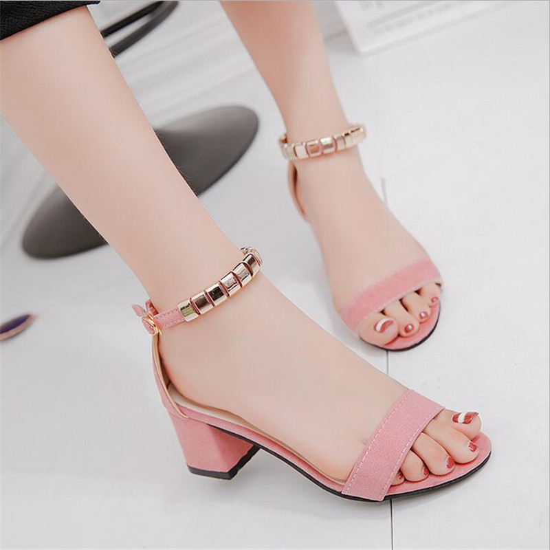 metal String Bead Summer Women Sandals Open Toe shoes Womens Sandles Square heel Women Shoes Korean Style Gladiator Shoes