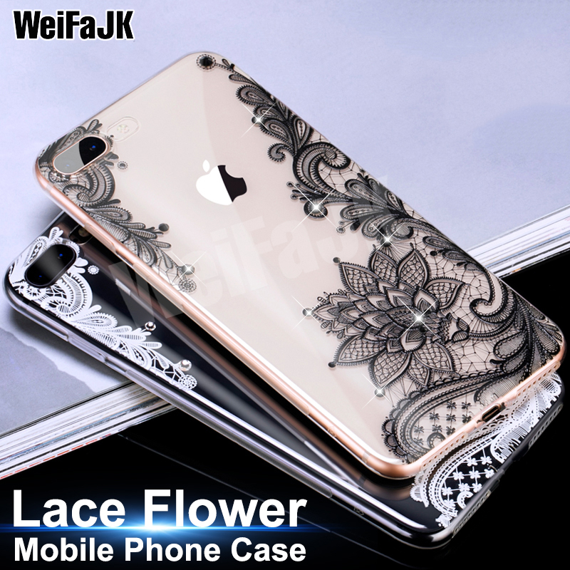 WeiFaJK Flower Patterned Silicone Cases For iPhone 5s 6 7 For iPhone 7 Case Lace Soft TPU Cover For iPhone 8 7 6 6s Plus X Case