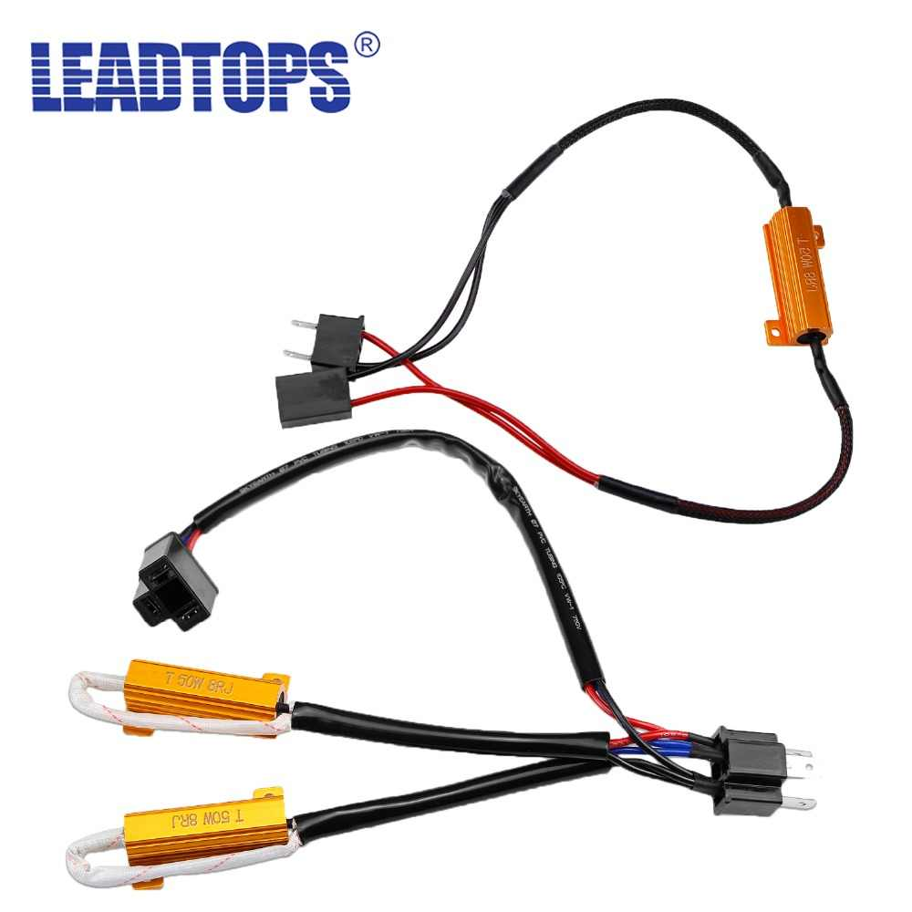 LEADTOPS 2pcs H4 H7 LED Decoder Load Resistor For H8 H9 H11 9005 9006 Car Lights 50W 8RJ Radio Error Warning Flashing Lifted BJ