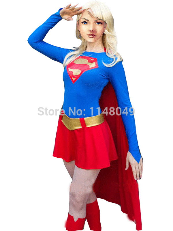 Blue and Red Spandex Supergirl Costume Superhero Costume Cosplay halloween female costumes for women/girls-in Movie u0026 TV costumes from Novelty u0026 Special Use ...  sc 1 st  AliExpress.com & Blue and Red Spandex Supergirl Costume Superhero Costume Cosplay ...