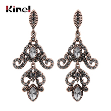 Kinel Vintage Crystal Flower Drop Earring For Women Ethnic Bride Jewelry Antique Gold Color Dangle Arabesque Bijoux
