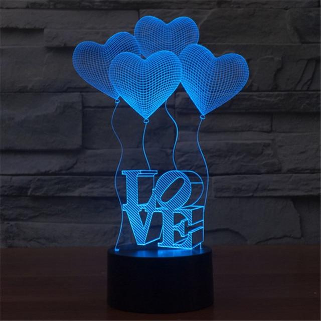 AUCD 3D Valentineu0027s Day Heart Shaped Balloon LOVE Bulbing Romantic Night  Light Lamp Colorful Acrylic Ideas