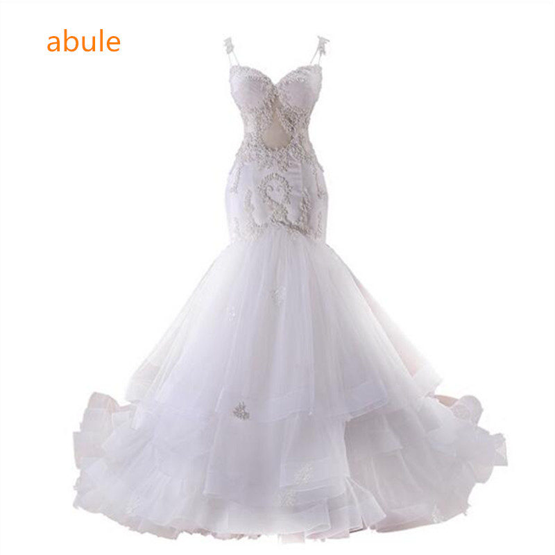 abule Luxury mermaid wedding dress train sweetheart lace pearls sheer bride wedding gowns Appliques ruffles Vestido De Noiva