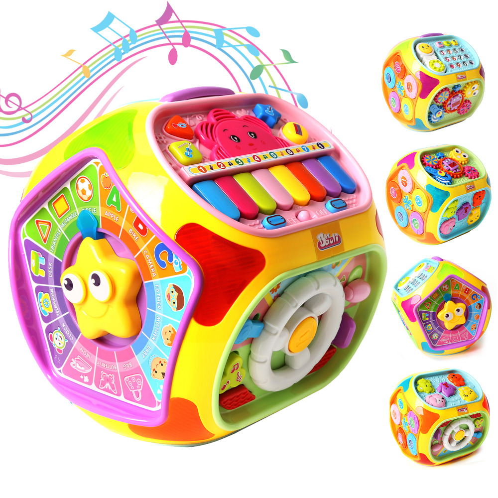 Apprentissage et éducation jouets musicaux multifonctionnels bébé amusement heptaèdre maison jouets éducatifs pour enfant enfants boîte à musique