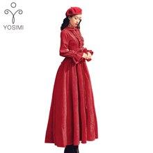 YOSIMI, весна, высокое качество, макси, элегантное, вельветовое, винтажное, с оборками, длинное, для вечеринки, женское платье, полный рукав, длина по щиколотку