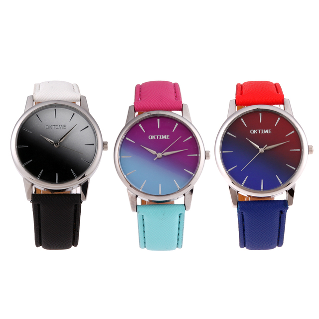 OKTIME Brand Color Changing Couple Watch Candy Color Ladies Watch Leather WristWatch Casual Clock Women reloj mujer bayan saat