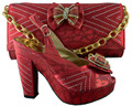 Free shipping,slip on close round toe appliques pumps african shoes and matching bags for wedding ,Size 37-42 HJZ1-74