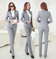 New Elegant Grey 2015 Autumn Winter Business Women Suits Jackets And Pants Formal Pantsuits Female Work Wear Office Ladies Sets