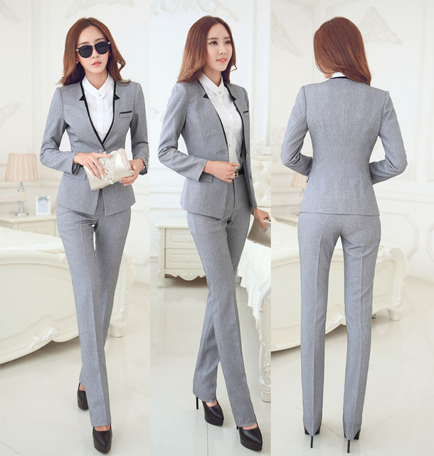 b3eb4077fd55f New Elegant Grey 2015 Autumn Winter Business Women Suits Jackets And Pants  Formal Pantsuits Female Work