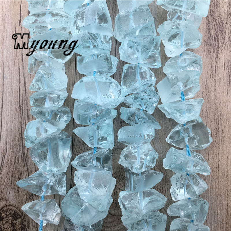 Raw Natural Blue Opal Nugget Beads,Gems Stone Blue Clear Crystal Quartz Druzy Beads For DIY Jewelry MY1962(China)