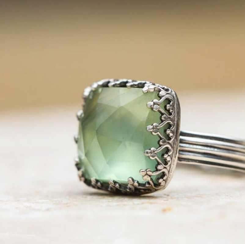 Винтажный тайский серебристый мятный зеленый кольцо из лунного камня простое зеленое кольцо с фианитом для женщин модные ретро женские кольца ювелирные изделия 2019