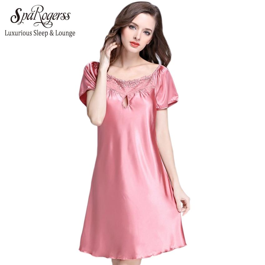 ᗚ2017 nueva moda verano traje de seda mujeres ropa de dormir manga ...