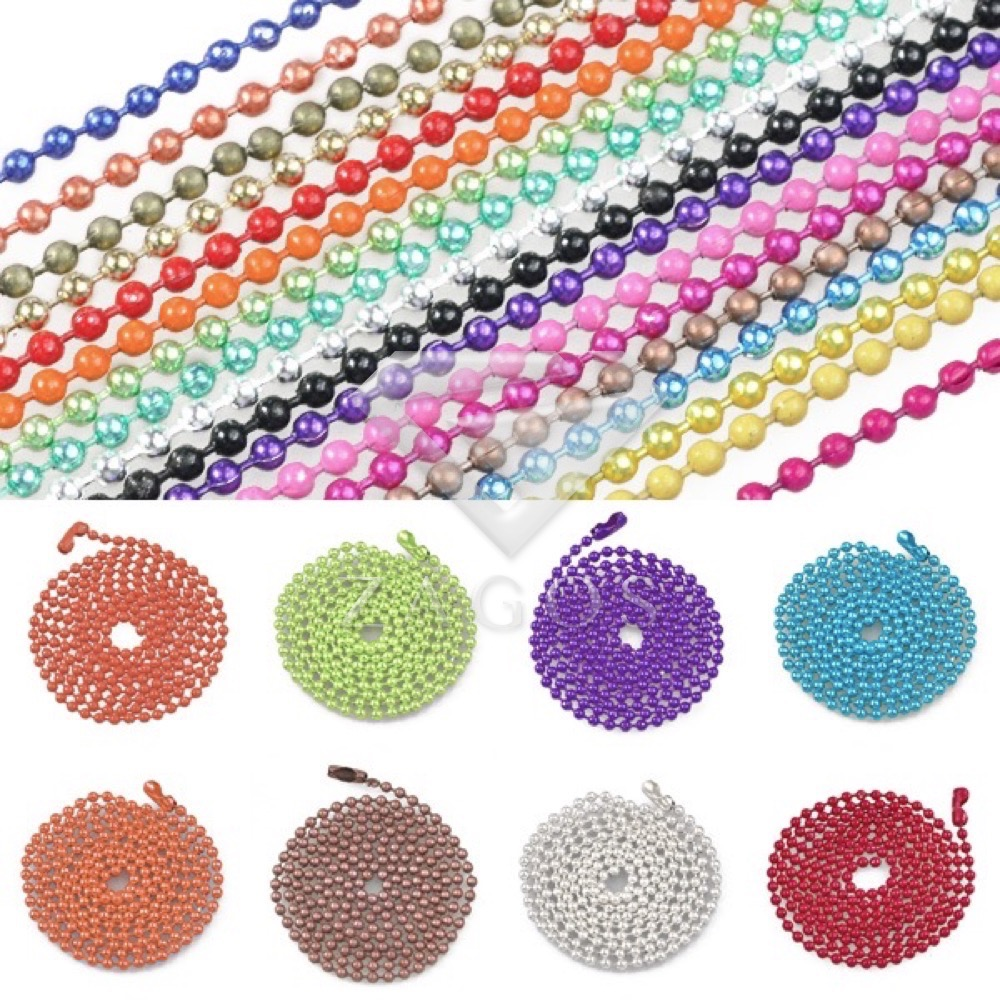 70cm/28 Iron 1.5x1.5mm Ball Beads Chain Necklace Pendant Craft DIY Jewellery Making Wholesale 18 Color Choose CH0139