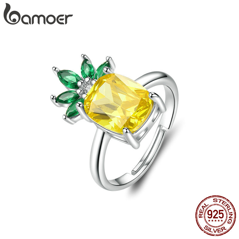 BAMOER Summer Pineapple Adjustable Rings S925 Silver Big Cubic Zirconia Fruit  Free Size Ring For Women Statement Jewelry BSR037