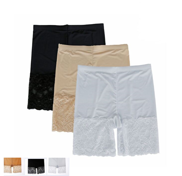 New High-end Women's Intimates Female sexy Fashion Mid waist Elastic Widen lace Safety Short Pants Lady breathable panties