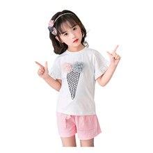 d52f1c7c4b9 2018 Brand Girls Print Summer Style T-shirt Shorts 2pcs Kid School Cute  Princess Clothes Set Child Sport Clothes Set Hot