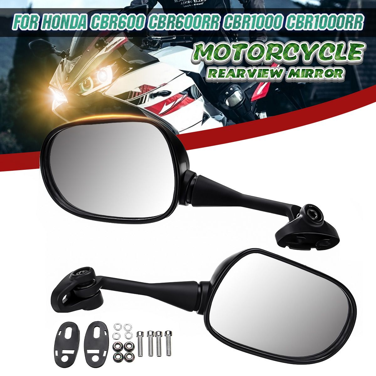 2X 18mm Motorcycle Rearview Rear View Mirrors Glass Back Side Mirror Right Left For Honda CBR600 CBR600RR CBR1000 CBR1000RR