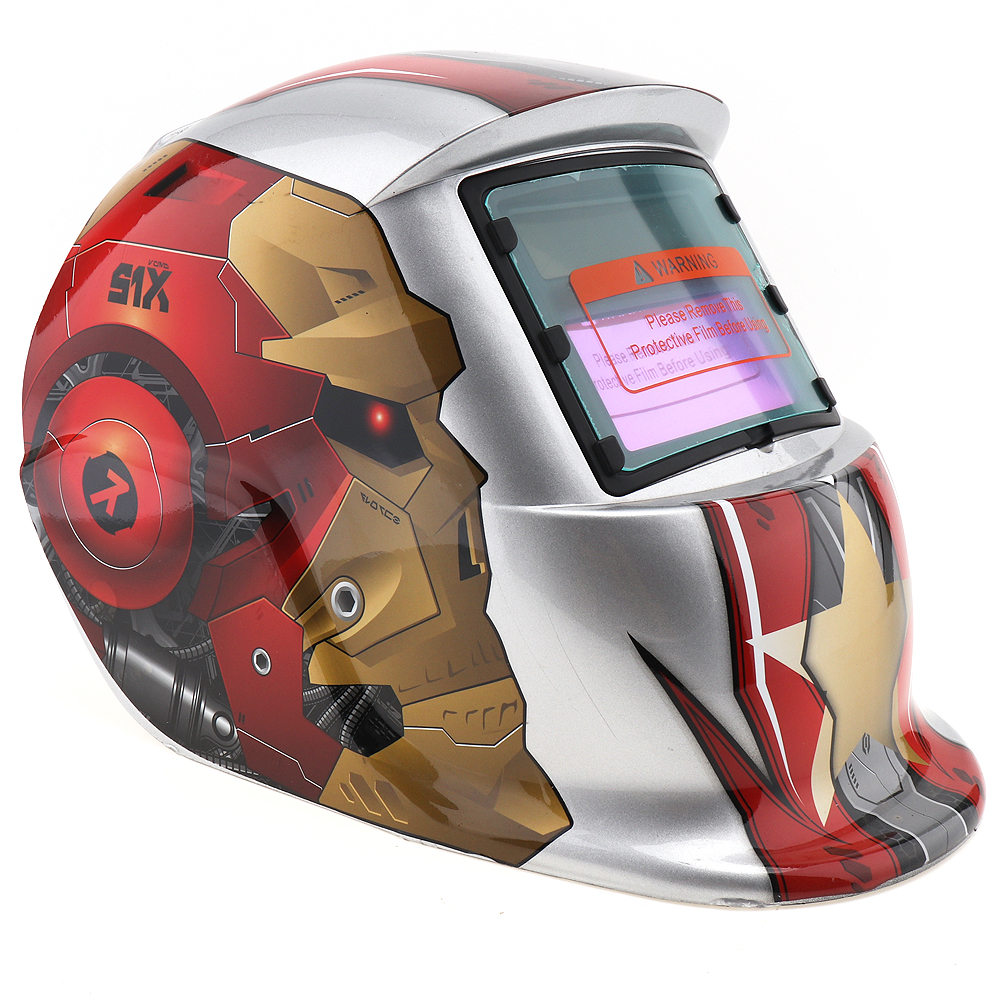 Silver Iron Robot Adjust Solar Auto Darkening TIG MIG Grinding Welding Helmets / Face Mask / Weld Cap цены