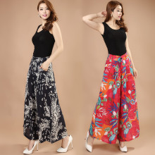 bd4fc327d2 Summer thin wide leg pants female silk cotton beach flower pants classic  fashion women's Ankle-
