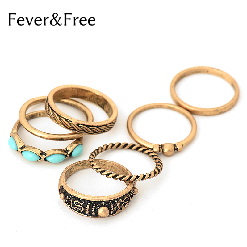 Vintage Boho Charm 7PCS Ring Set Antique Gold/Silver Color Rings For Women Retro Alloy Ring Stone Beads Jewelry Dropshipping