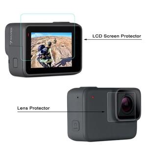 Image 4 - GAQOU verre trempé pour Gopro Hero 7 6 5 noir capuchon dobjectif LCD protecteur décran Go Pro Action caméra Film de protection accessoires