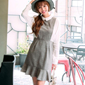 New Korean Style 2016 Autumn Women Peter Pan Collar Fish Tail Dresses Lady Long Sleeve Faux Two Pieces Mini Dress Vestidos