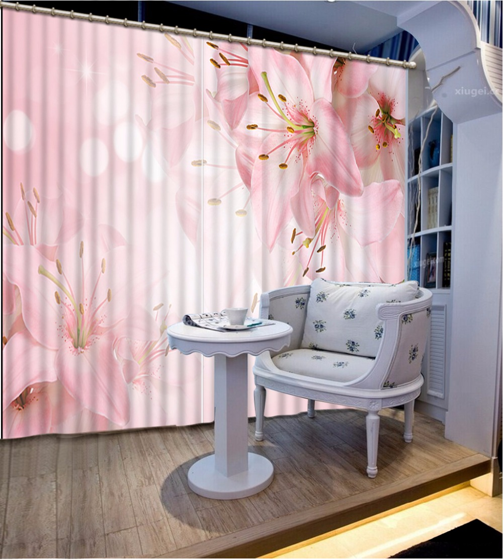 New Custom 3D Beautiful Printed Curtain Pink Flowers Blackout Shade Window Curtains Window Curtain Living Room