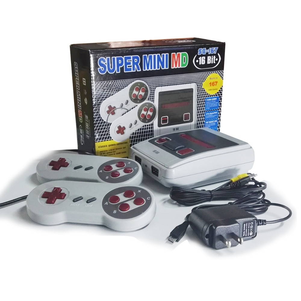 2018 New Retro Mini TV Video Game Console For Sega MegaDrive 16 Bit Games with 167 Different Built-in Games Two Gamepads AV Out(China)