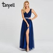 Tanpell, вечернее платье с разрезом спереди, темно-синее, без рукавов, длина до пола, ТРАПЕЦИЕВИДНОЕ ПЛАТЬЕ для женщин, вечернее длинное платье для выпускного вечера es