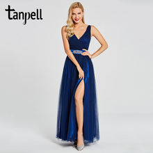 Женское вечернее платье в пол tanpelll темно синее с разрезом
