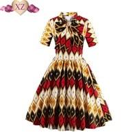 Rockabilly 1950S Dress Spring Women Short Sleeve With Print Bow V Neck A Line Dress Slim