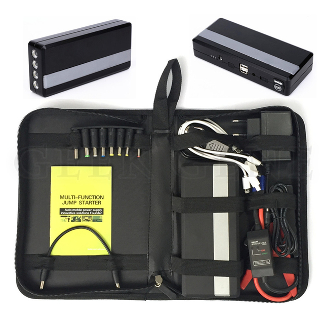 New upgraded multi-function car jump starter battery emergency charger 4USB portable power bank sos lights free ship