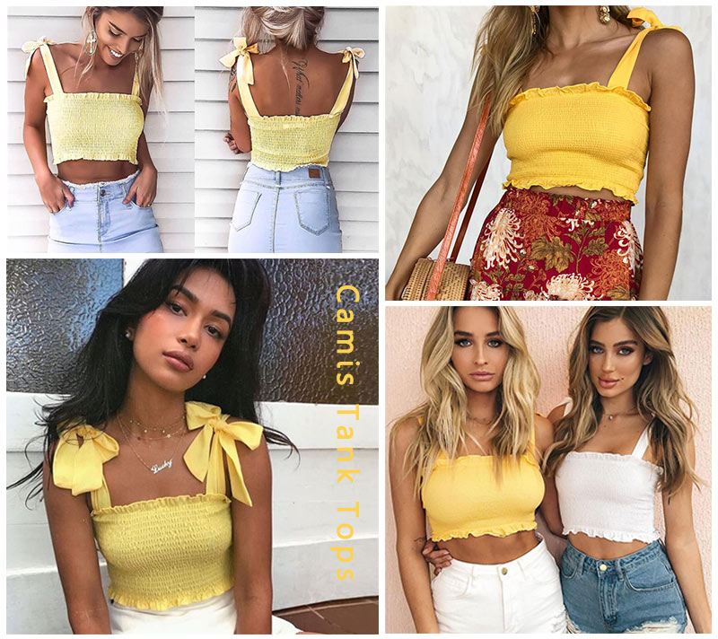 HTB1nGLmeDXYBeNkHFrdq6AiuVXaY - FREE SHIPPING Tube Crop Top Bow Tie Strap Ruched Tank Top JKP425