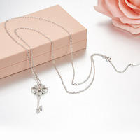 ZOZIRI 925 sterling silver small Key Necklace Pendant cute women girls flower shape trendy summer accessories Jewelry