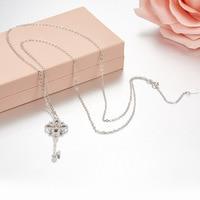 ZOZIRI 925 sterling silver small Key Necklace Pendant cute women girls flower shape trendy summer accessories Jewelry