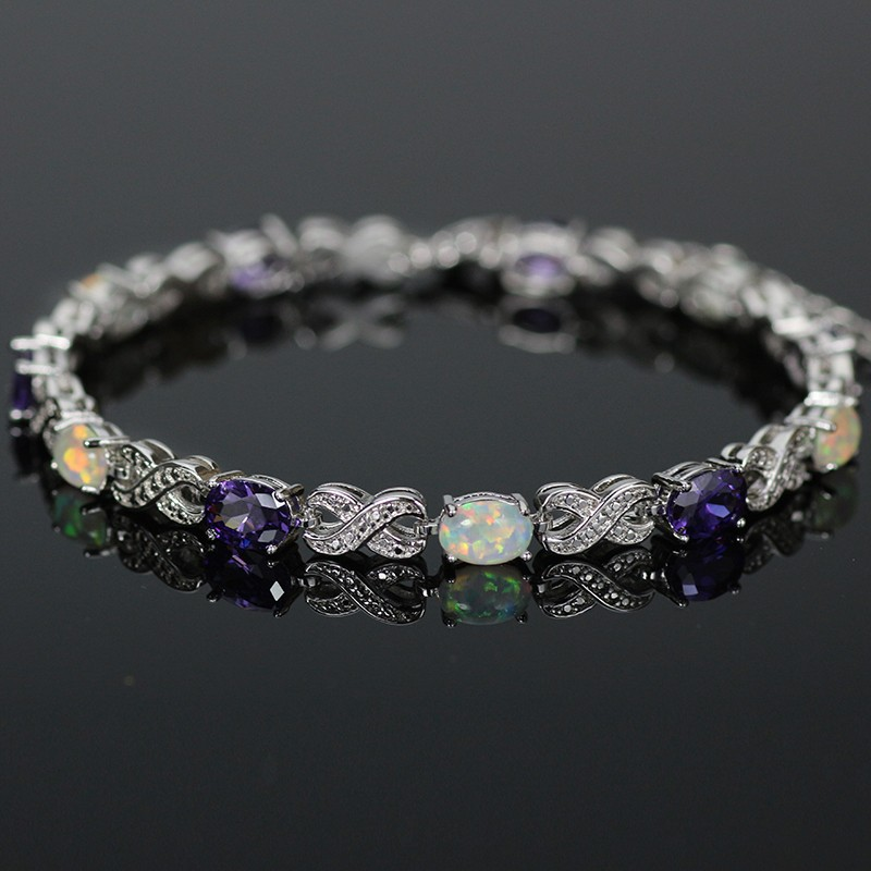 SZ0005 2016 Trendy Fire Opal Gem Purple Stone Silver Bracelet for Women Elegant Jewelry Best Gift for Lovers Wedding