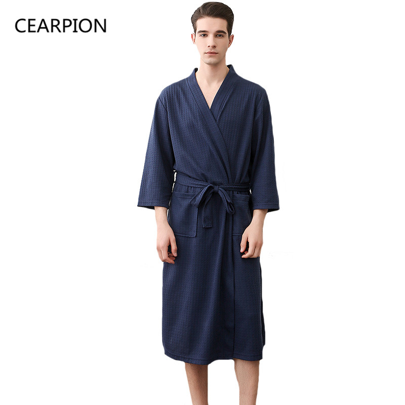 CEARPION Summer Bathrobe Sleepwear Autumn Casual Robes Men Cotton Three Quarter Sleeve Nightgown Male Kimono Sleep Gown(China)