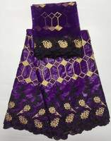 high quality embroidered African bazin cotton lace fabric in purple with beads 5yards +French lace fabric 2yards for dress CBL40