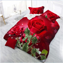 Fashion 3d bedding sets luxury bed Quilt Duvet Cover Pillow Case Flowers Printed Bedding Set Winter Twin Queen Without Comforter(China)