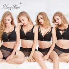 MengShan New Large Bra Suit Fat MM 200 kg breathable gathering big size bra set Sexy lace without steel ring plus