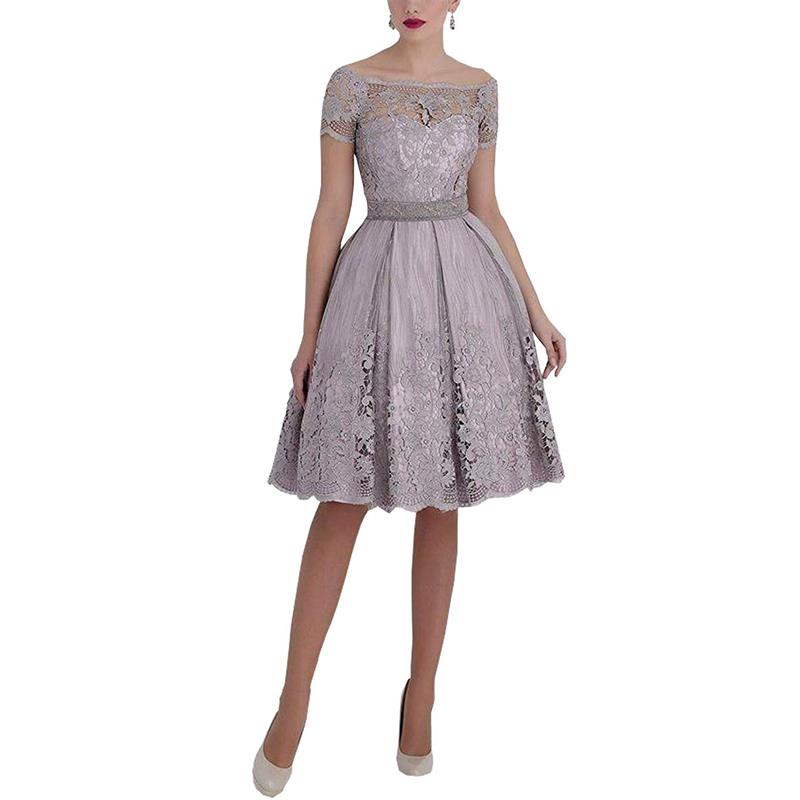 Lace Bateau Knee Length Short Sleeves Silver-Gray Mother Dresses Short Evening Gowns Elegant Mother Of The Bride Groom Dress