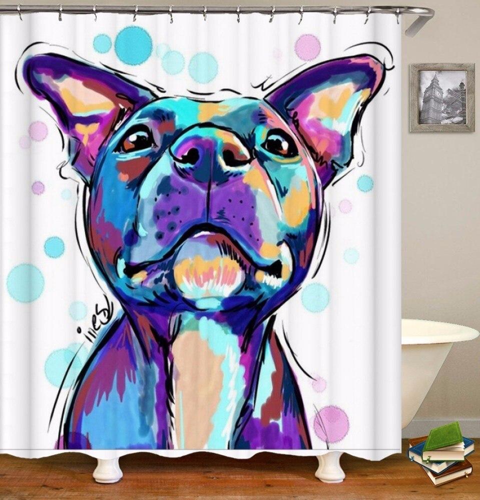 Image 5 - VOZRO Cat and dog pattern shower curtain bath bape douchegordijn pascoa cortina banheiro splatoon miniaturas cthulhu bathroom-in Shower Curtains from Home & Garden