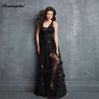 Black Long Evening Dresses 18 Sexy One Shoulder Sweetheart Elegant Party Gown A Line Lace Appliques Plue Size vestido de festa